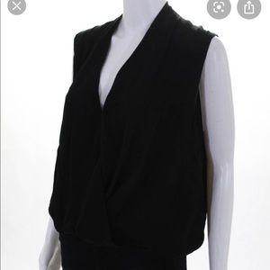 Haute Hippie Black V Neck Silk Draped Blouse SZ XS